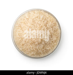 Top view of bowl with raw rice isolated on white - Stock Photo