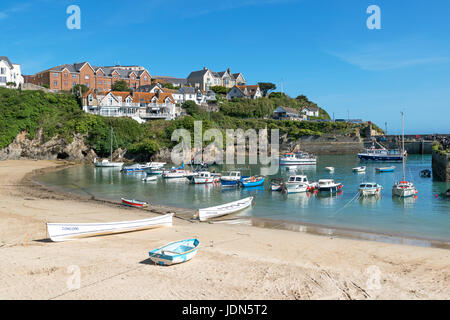 fishing boats in the harbour at newquay, cornwall, england, britain, uk. - Stock Photo