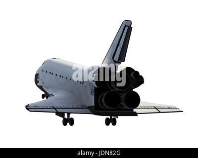 Space Shuttle Landing On White Background - Stock Photo