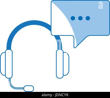 headset with bubble speech service call center - Stock Photo