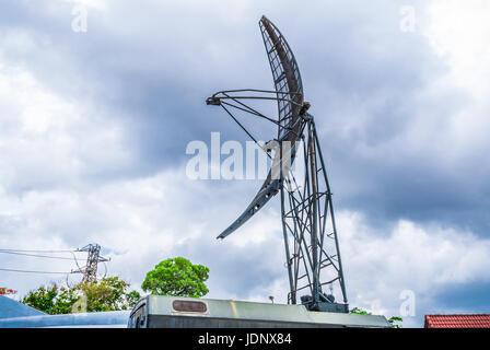 Closeup to Parabolic Military Mobile Communication Antenna Tower - Stock Photo