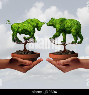 Growing stock market trends and financial advisor guidance or stock broker economic business sentiment as two hands - Stock Photo