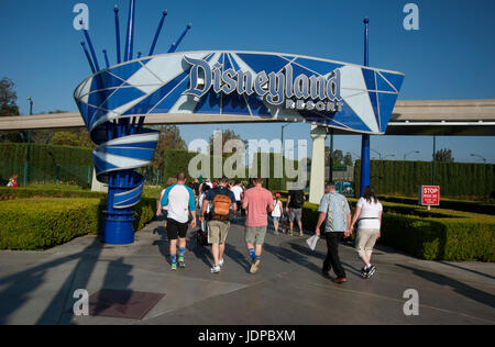 Visitors arriving at entrance of Disneyland Resort in Anaheim, CA - Stock Photo