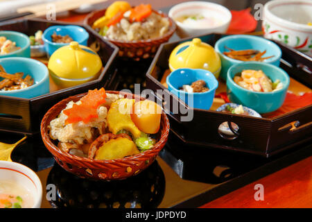 Assorted dishes at Japanese traditional ryokan, Tokyo, Japan - Stock Photo
