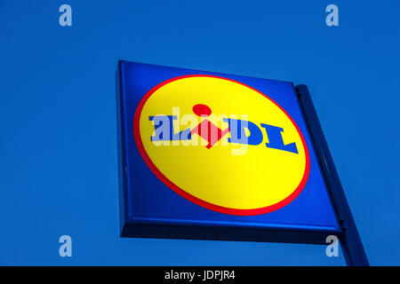 Cartagena, Spain - May 17, 2017: Lidl supermarket logo illuminated at dusk. Lidl is german discount supermarkets - Stock Photo