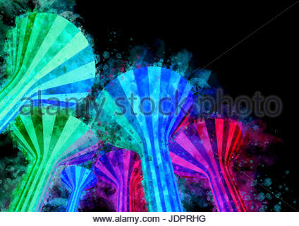 Watercolor Night Time Illuminated Water Towers Landmarks Of Kuwait - Stock Photo