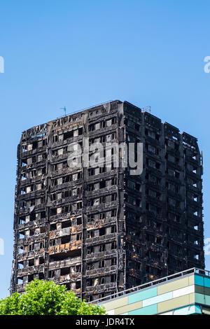 Grenfell Tower block fire, North Kensington, London, England, U.K. - Stock Photo