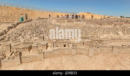 Outdoor Model of Jerusalem in the second Temple Period, showing the topography and architecture of ancient Jerusalem, - Stock Photo