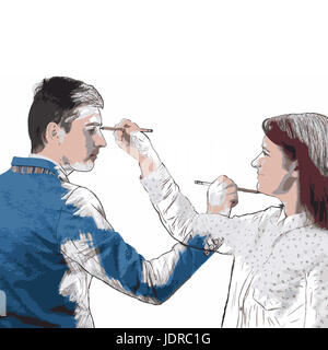 Illustration of woman and man drawing picture sketch of each other by memory using a magic pencil. Business teamwork - Stock Photo
