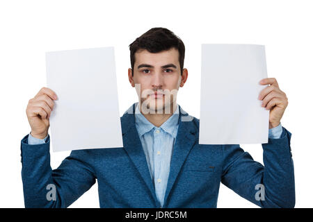 Depressed Businessman holding two white papers over white background. - Stock Photo