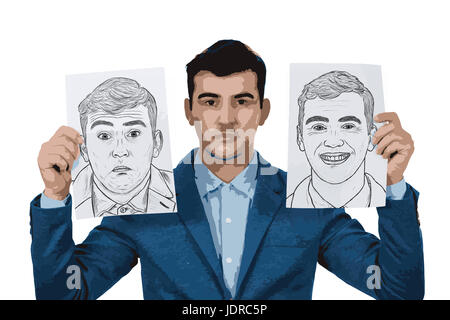 Illustration of depressed businessman holding two white papers with different emotions drawn. Change your mask between - Stock Photo