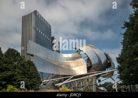 Chicago, Harris Theater by Frank Gehry at  new Millenium Park,Illinois. - Stock Photo
