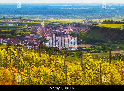 Scenic panoramic mountain landscape with vineyards and old historic village in Germany, Black forest. View over - Stock Photo