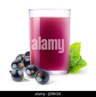 Isolated fruit drink. Glass of juice and black currant berries isolated on white background with clipping path - Stock Photo