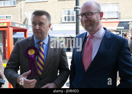 UKIP leader Paul Nuttall visits Elm Park, East London as campaigning continues in the build up to the 2017 General - Stock Photo