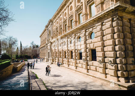 Outside of the Palace of Charles V in the Alhambra, Granada, Andalucia, Spain - Stock Photo