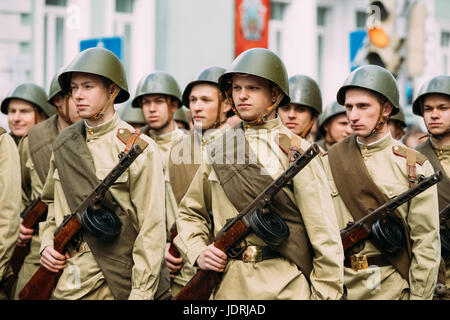 Gomel, Belarus - May 9, 2017: Group Of Re-enactos Dressed As Russian Soviet Soldiers Of World War Taking Part In - Stock Photo