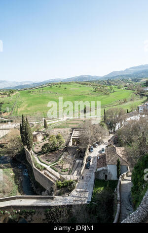 view down to the ancient arab baths in Ronda, Andalucia, Spain - Stock Photo