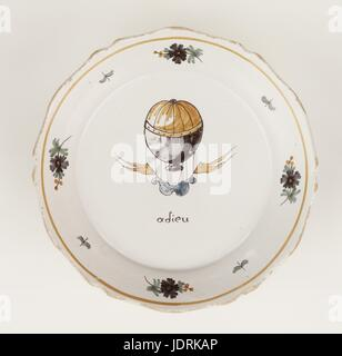 Polychrome faience plate with curved edging, Nevers  Charles and Roberts' flight, 1st Decembre 1783  Diameter 23 - Stock Photo