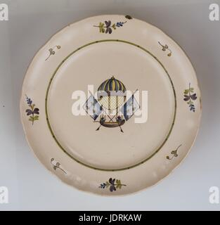 Polychrome faience plate fired on a high heat with La Rochelle curved edging  Mr Blanchard's flying vessel   Diameter - Stock Photo