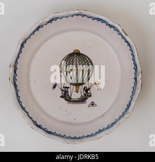 Faience plate with polychrome design and curved edging, Nevers  Charles and Robert's first ascent 1st December 1783 - Stock Photo