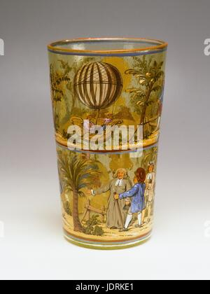 Enamel vase from Germany  Vase decorated with three designs of the first aerostatic experiments in 1783   The first - Stock Photo
