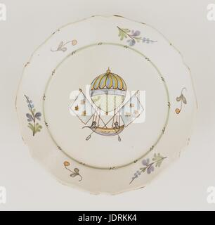 Plate made in La Rochelle  Mr Blanchard's flying vessel  Polychrome faience fired on a high heat with curved edging - Stock Photo