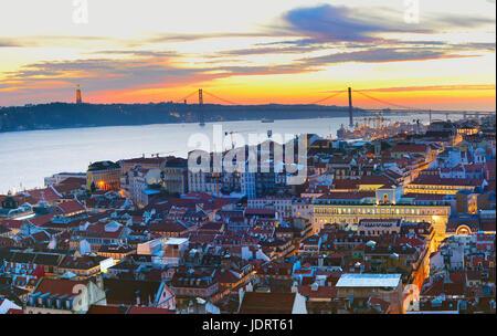 Lisbon skyline in the beautiful twilight. Portugal - Stock Photo