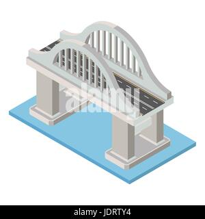 Vector isometric bridge. Transport  infrastructure 3d element representing low poly structure for city map creation. - Stock Photo