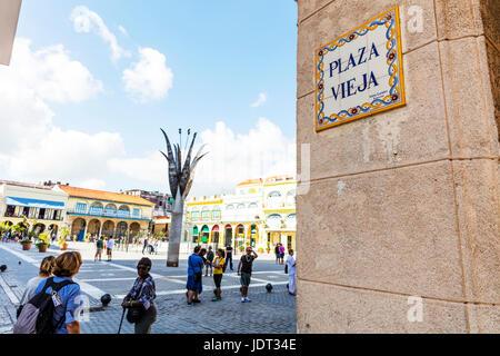 Plaza Vieja Havana Cuba, Cuban plaza, Plaza Vieja (Old Square), Havana, Cuba, Habana sign, Havana, Cuba. Plaza Vieja, - Stock Photo