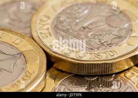 New British one pound coins, 2017, closeup, United Kingdom - Stock Photo