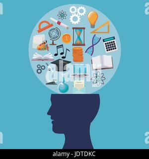 color background human head circular bubble with icons knowledge - Stock Photo
