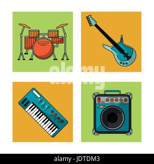 white background with colorful squares with musical instruments