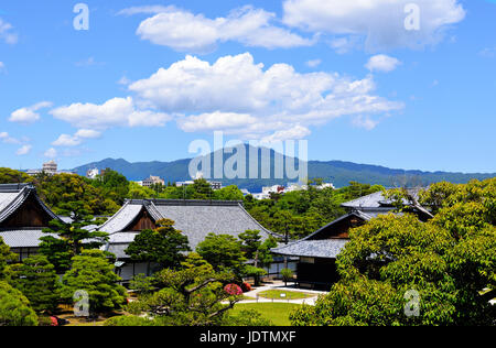 Honmaru Palace with Mount Hiei in the background, Nijo Castle, Kyoto, Japan - Stock Photo