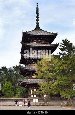 Kofukuji's five story pagoda at dusk, Nara, Japan - Stock Photo