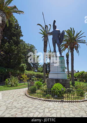 Corfu and the Achilleion Palace with a statue of Achilles on the Greek island in the Ionian Sea - Stock Photo