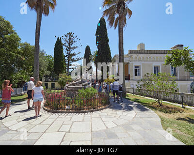 Corfu and the Achilleion Palace on the Greek island in the Ionian Sea - Stock Photo