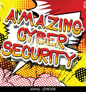 Amazing Cyber Security - Comic book style word on abstract background. - Stock Photo