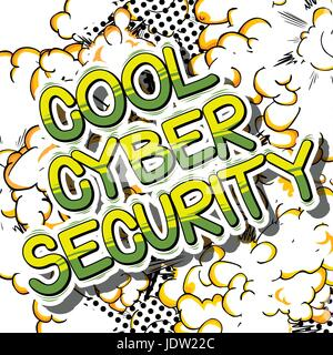 Cool Cyber Security - Comic book style word on abstract background. - Stock Photo
