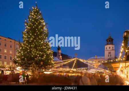 Christmas tree in christmas market, Salzburg, Austria - Stock Photo