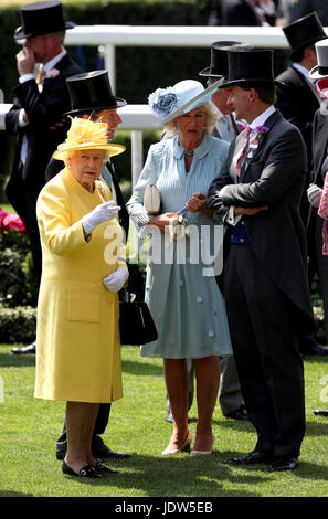 Her Majesty The Queen (left), The Duchess of Cornwall (centre) and Johnny Weatherby (right) during day two of Royal - Stock Photo