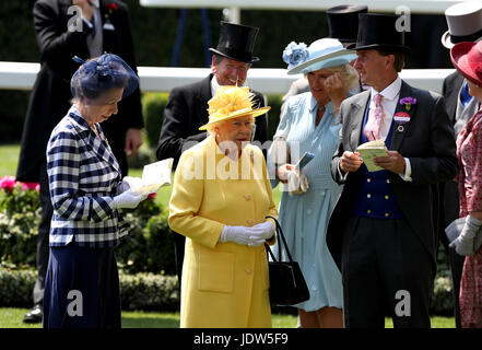 Anne, Princess Royal (left), Her Majesty The Queen (centre), The Duchess of Cornwall (second right) and Johnny Weatherby - Stock Photo