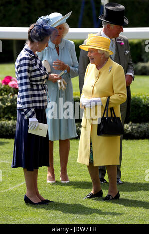 Her Majesty The Queen (right), The Duchess of Cornwall (centre) and Anne, Princess Royal (left) in the parade ring - Stock Photo