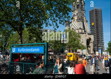 01.06.2017, Berlin, Germany, Europe - An entrance to the metro station at Kurfuerstendamm in Berlin Charlottenburg - Stock Photo