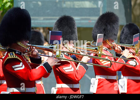 Band of the Welsh Guards at Trooping the Colour 2017 in The Mall, London. Space for copy - Stock Photo