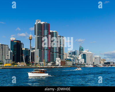 Darling Harbour and skyline, Sydney, NSW, Australia, Winter Sunshine - Stock Photo