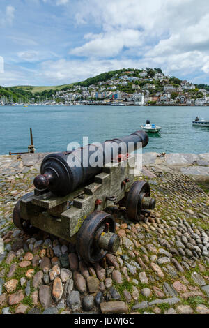 An old cannon at Bayards Cove, Dartmouth, Devon - Stock Photo