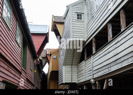 Structure and design of back timbers on old wooden Hanseatic buildings in Bryggen, Bergen, Hordaland, Norway, Scandinavia - Stock Photo