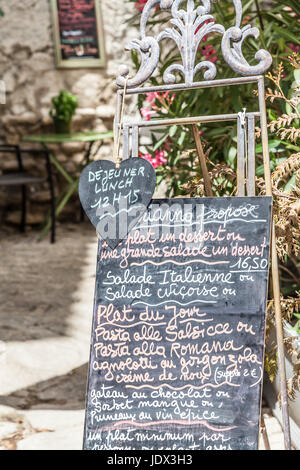 French Food Menu Card With Traditional Meal On Chalkboard