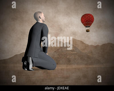 Businessman on his knees looking at a red hot air balloon flying in the sky upon mountains - 3D render - Stock Photo